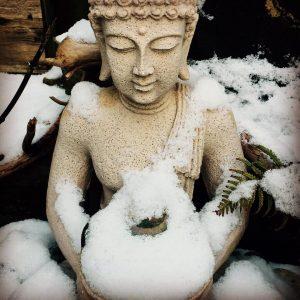 Healing after Breast Cancer Buddha in garden at Secret Garden Tattoo Studio Holmfirth Yorkshire